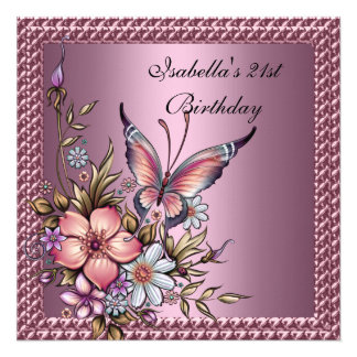 Birthday Party Elegant Floral Butterfly Pink Personalized Announcements