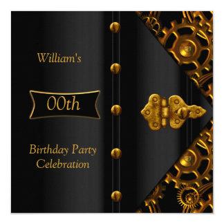 Birthday Party Elegant Gold Black Steampunk Invitation
