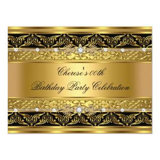 Birthday Party Elegant Gold Diamond Black Trim 3 Card