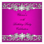 Birthday Party Elegant Hot Pink Silver Diamond Personalized Announcement