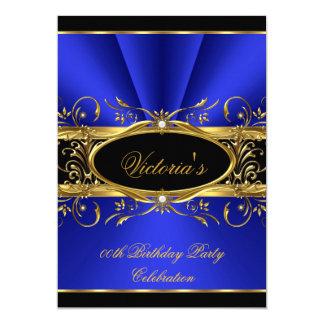 Birthday Party Elegant Royal Blue Gold Black Card