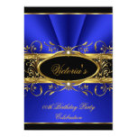 Birthday Party Elegant Royal Blue Gold Black Personalized Announcement
