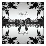 Birthday Party Elegant Silver Black Floral Jewel Custom Announcements