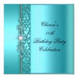 Birthday Party Elegant Teal Blue Diamond Personalized Invite