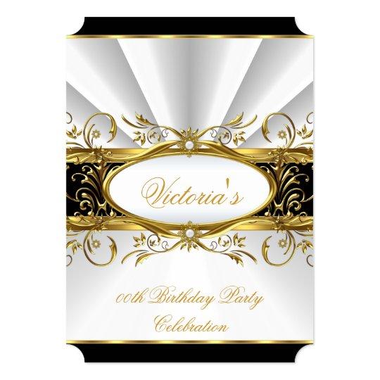 Birthday Party Elegant White Gold Floral Black 3 Card