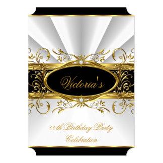 Birthday Party Elegant White Gold Floral Black 4 Card