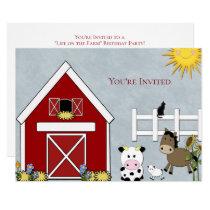 Birthday Party, Farm, Country, Custom Card