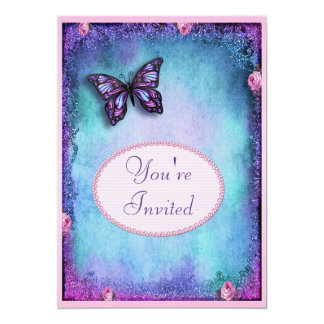 Birthday Party Faux Glitter, Butterfly, Roses Lace Card