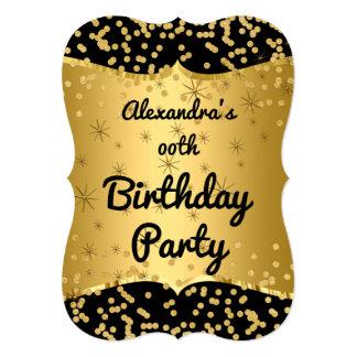 Birthday Party Faux Gold Black Confetti Invite