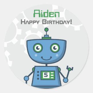 Birthday Party Favor Sticker | Robot Theme Round Sticker
