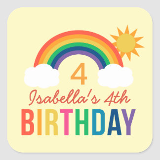 Birthday Party Favor Stickers   Rainbow Colors Square Sticker