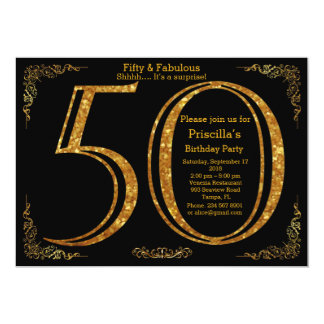 Birthday party, fifty, great Gatsby, black & gold Card