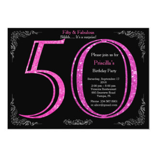 Birthday party, fifty, great Gatsby, black silver Card