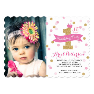 Birthday Party   First Bday Princess Photo Scallop 5x7 Paper Invitation Card