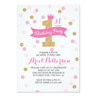 Birthday Party | First Birthday Princess 5x7 Paper Invitation Card