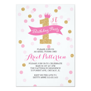 Birthday Party | First Birthday Princess Card at Zazzle