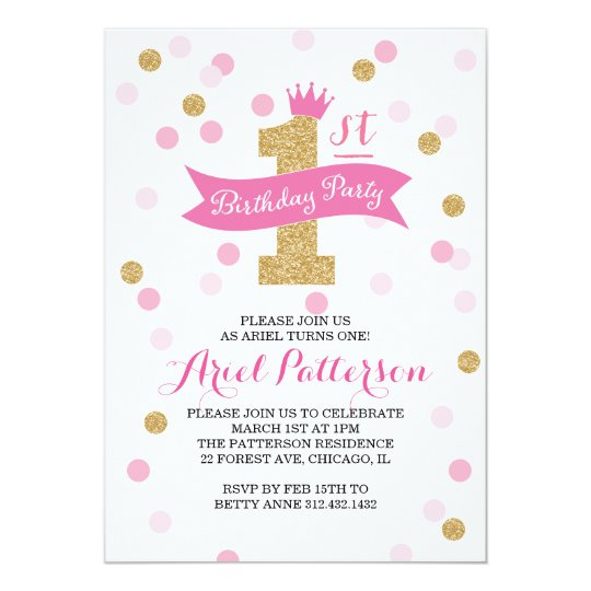 Birthday Party First Birthday Princess Card – 1st Birthday Princess Invitation