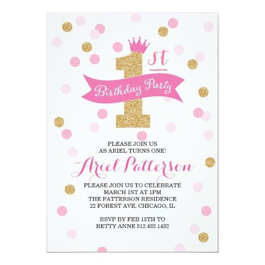 Birthday Party First Birthday Princess Invitation Zazzlecom