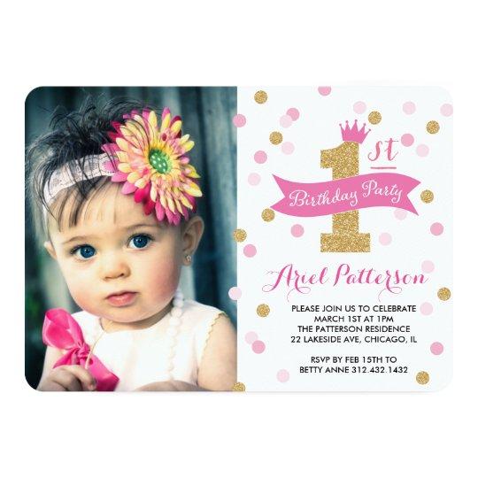 Birthday Party First Birthday Princess Photo Card Zazzlecom