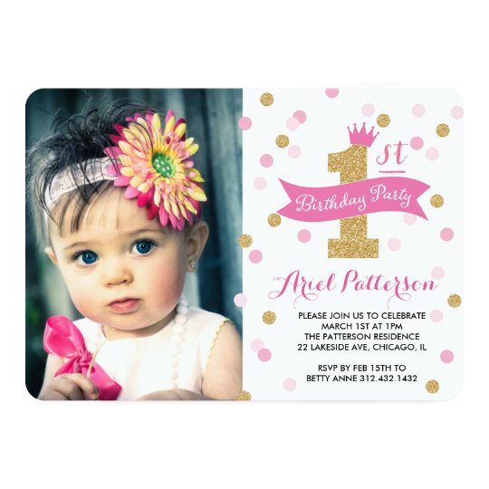Birthday Party First Birthday Princess Photo Card – 1st Birthday Princess Invitation