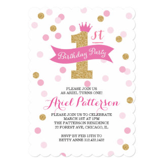 Birthday Party   First Birthday Princess Scalloped 5x7 Paper Invitation Card