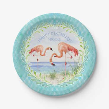 Beach Themed Birthday Party Flamingo Beach Ocean Sandy Shore Paper Plate