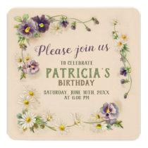 Birthday party Floral garland CC1057 Invitation