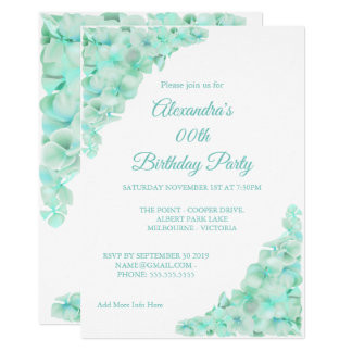 Birthday Party Floral Teal Blue Hydrangeas White