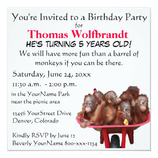 Birthday Party for Child Barrel of Monkeys Fun Custom Announcement
