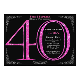 Birthday party, forty, great Gatsby, black silver Card