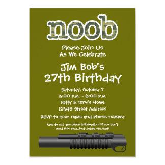 Birthday Party - Funny Noob Gamer 5x7 Paper Invitation Card