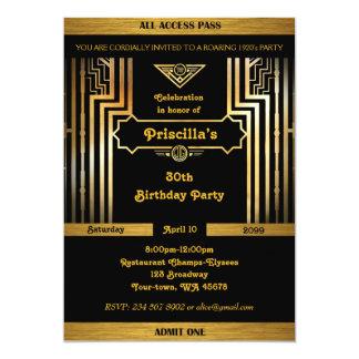 Birthday Party, Gatsby style, Art Deco,gold black Card