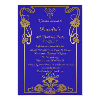 Birthday Party, Gatsby style, blue Roy & gold Card