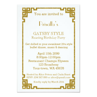 Birthday party, Gatsby style, white & gold Card