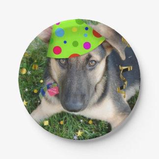 Birthday Party German Shepherd Paper Plate