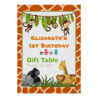 Birthday Party Gift Table Safari Jungle Animals Poster