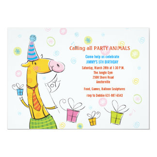 "Birthday Party Giraffe Invitation 5"" X 7"" Invitation Card"