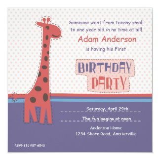 Birthday Party Giraffe Invitation