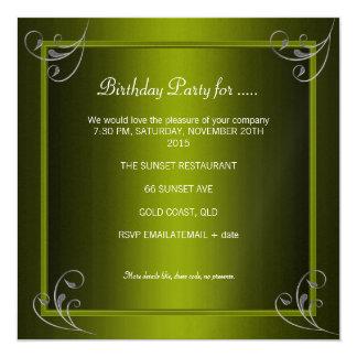 Birthday Party Glamorous Green Avocado Silver 5.25x5.25 Square Paper Invitation Card