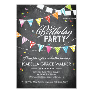 Birthday Party | Glitter Confetti Chalkboard Card