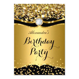 Birthday Party Glitter Gold Black Confetti Invite