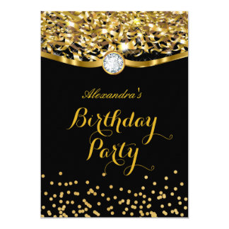 Birthday Party Glitter Gold Black Invitation