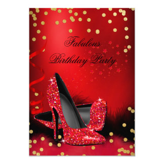 Birthday Party Glitter Red High Heels Gold Black Card