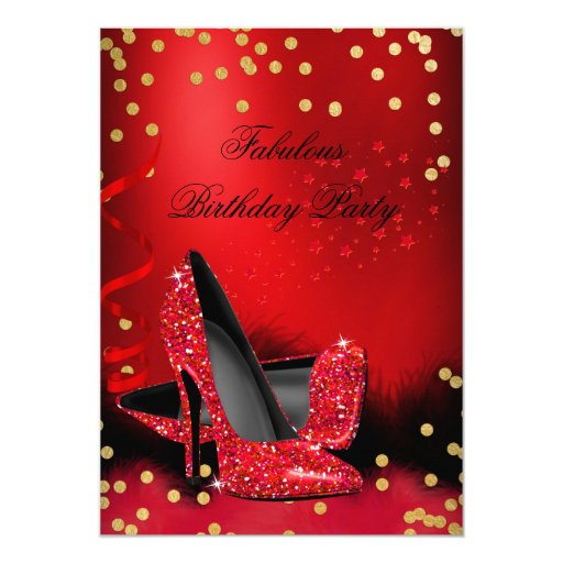 Birthday Party Glitter Red High Heels Gold Black 5x7 Paper Invitation Card
