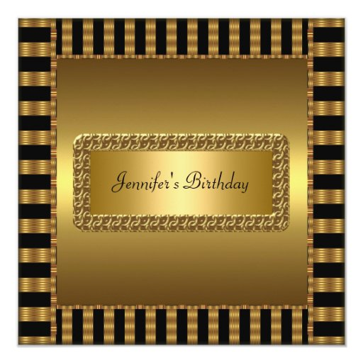 "Birthday Party Gold Any age 5.25"" Square Invitation Card"