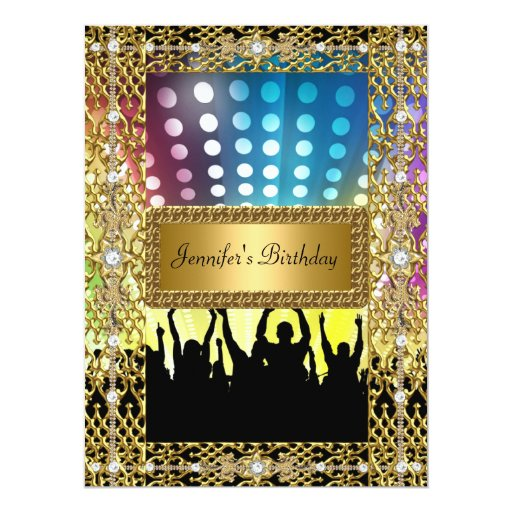 Birthday Party Gold Black Disco Any age 6.5x8.75 Paper Invitation Card