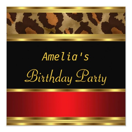 Birthday Party Gold Black Red Leopard Personalized Invitations