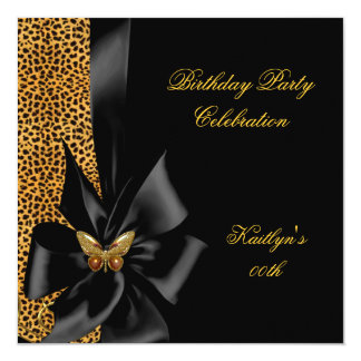 Birthday Party Gold Cheetah Black Butterfly 5.25x5.25 Square Paper Invitation Card
