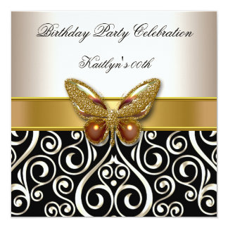 Birthday Party Gold Cream Butterfly Damask 5.25x5.25 Square Paper Invitation Card