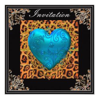 Birthday Party Gold leopard Black Blue Heart Invite
